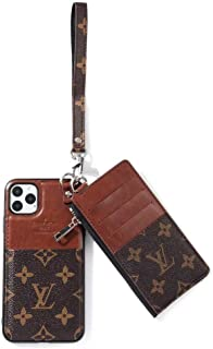 iPhone 11 Pro Max Case, Luxury Monogram PU Leather Classic Style Protect Cover Case for Apple iPhone 11 Pro Max 6.5-Brown Flower