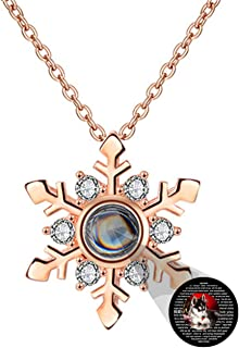 Collana di proiezione 100 Lingue Diverse Collana Ti Amo Collana con Foto Personalizzata Ciondolo Fiocco di Neve per Mamma