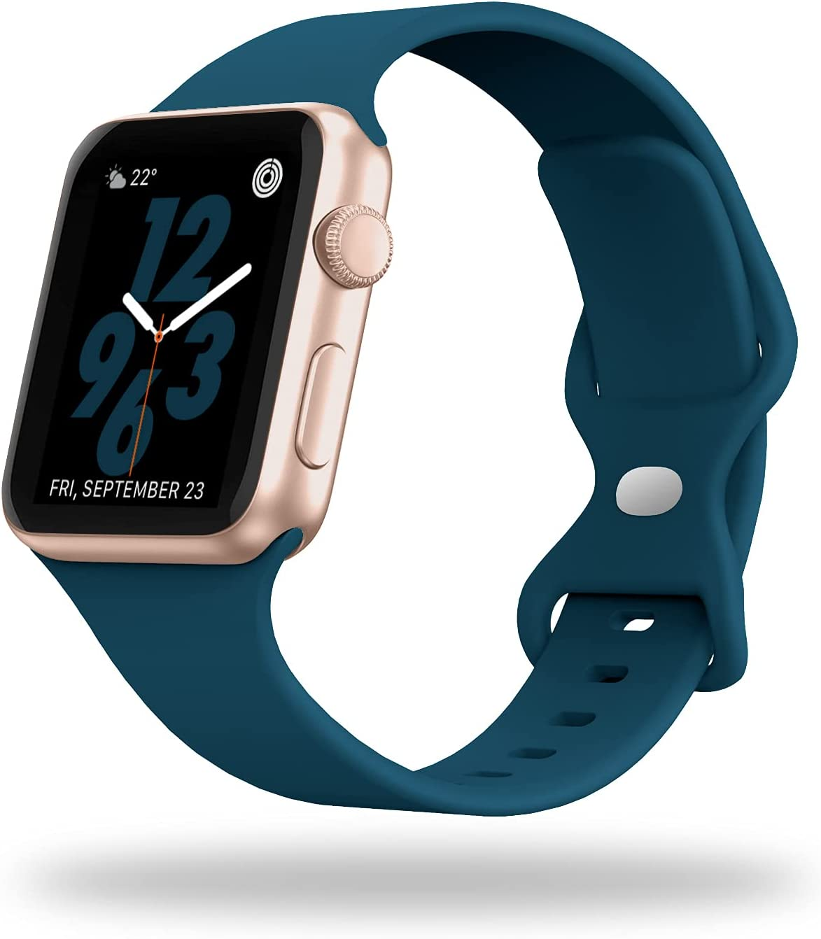 STG Sport Watch Band Compatible with Apple Watch Band 38mm 40mm 42mm 44mm, Soft Silicone Replacement Sport Strap Compatible for iWatch SE Series 6/5/4/3/2/1 (42/44mm, Pacific Green)