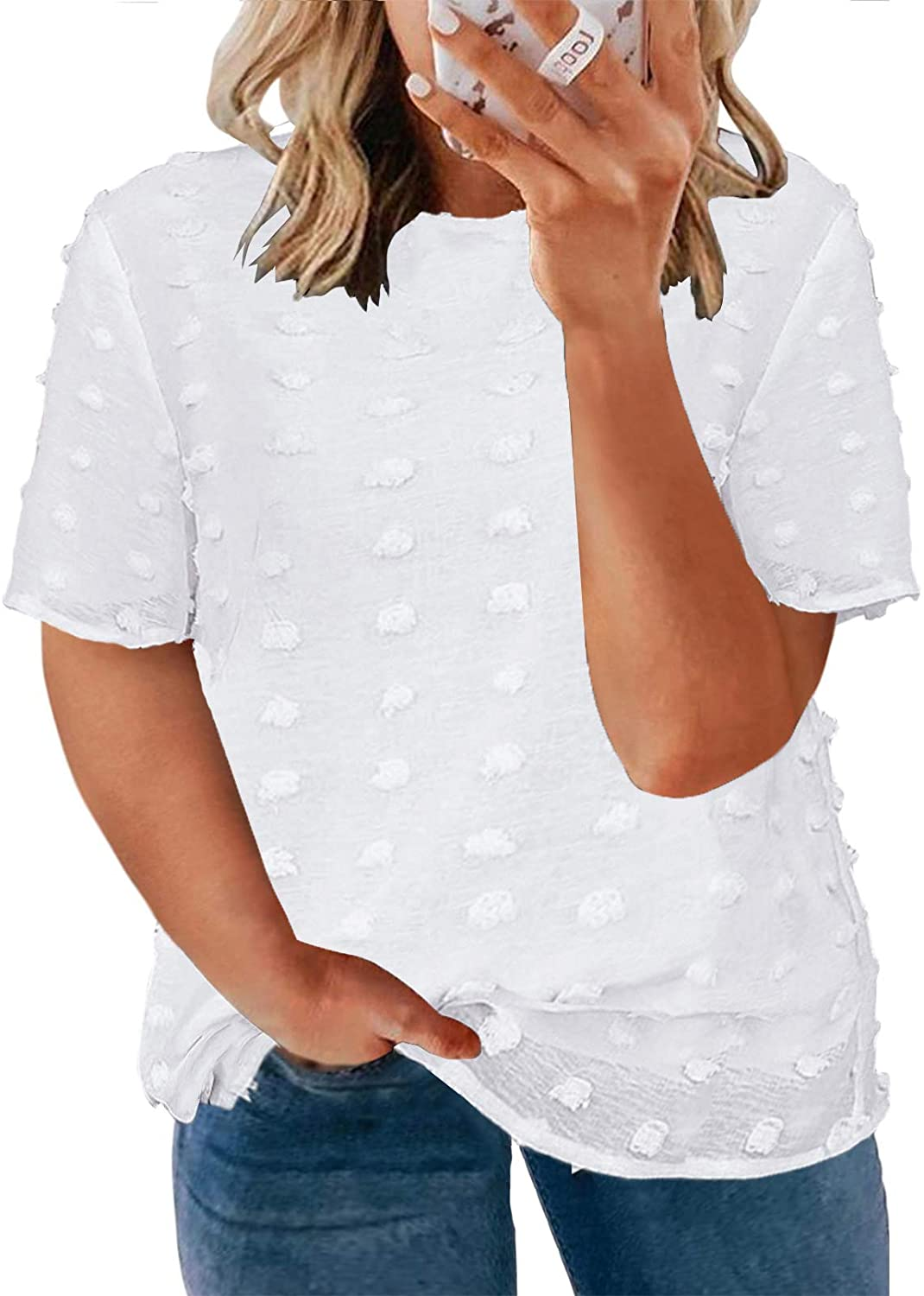 Happy Sailed Womens Plus Size V Neck Lace Crochet Tops Casual Loose Short Sleeve Flowy Tunic Blouses Shirts(1X-5X)