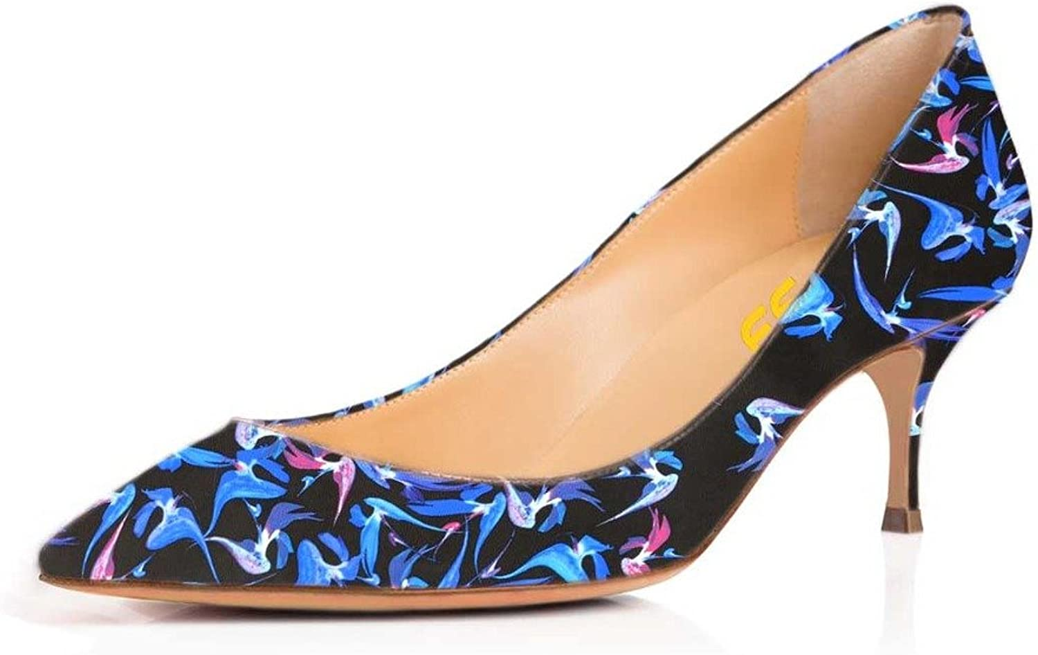FSJ Fashion Black Pumps for Women with Pointed Toe Heels Slip on shoes Size 4-15 US