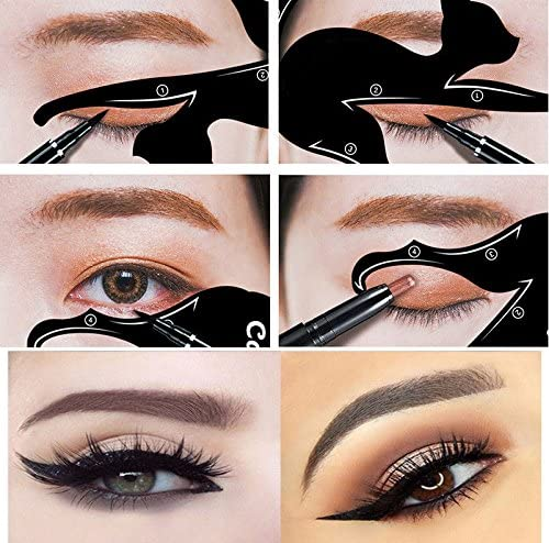 Barhunkft TM 2Pcs Cat Line Pro Eye Makeup Tool Eyeliner Stencils Template Shaper Model Beauty product image
