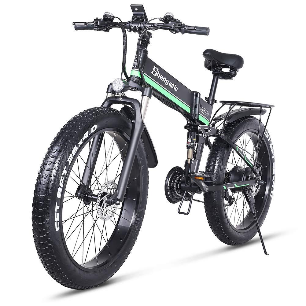 26 pulgadas neum/ático gordo Bicicleta el/éctrica 1000W 48V Nieve E-bici Shimano 21 Velocidades Beach Cruiser Hombre Mujeres Monta/ña e-Bike Pedal Assist bater/ía de litio Frenos de disco hidr/áulicos