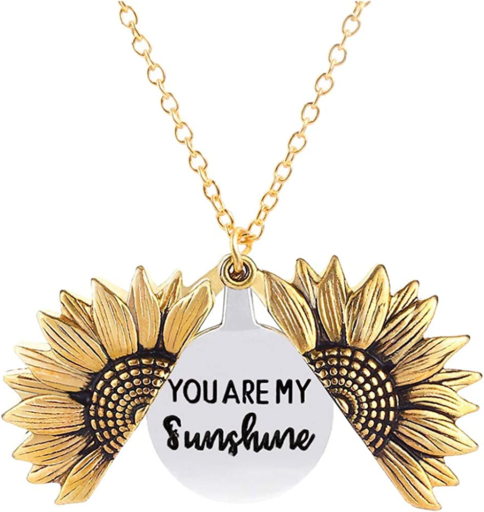 You Are My Sunshine Necklace Sunflower Necklace for Women Girls 2-Side Version Engraved Inspirational Message Necklaces Pendant Jewelry Gift for Her