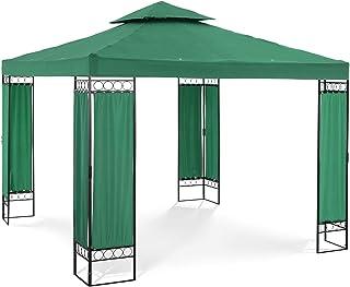 Uniprodo Pérgola De Metal Pabellón para Terraza Uni_PERGOLA_3X3GF (Toldo de 3 x 3 m, 160 g/m², Altura Total: 2, 60 m, Verde Oscuro): Amazon.es: Jardín