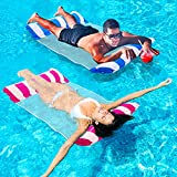 Inflatable Pool Floats for Adults - 2 Packs Portable Water Hammock Pool Floats with a Manual Air Pump, Pool Chairs to...