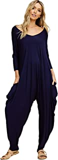 Women's Loose Fit Solid Long Sleeve Harem Pants Jumpsuits with Pockets