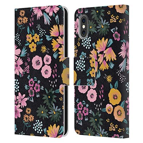 Head Case Designs Licenciado Oficialmente Ninola Pequeñas Flores Floral 2 Carcasa de Cuero Tipo Libro Compatible con Apple iPhone X/iPhone XS