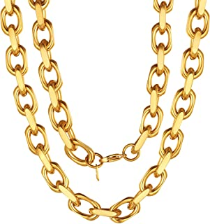 Gold Chain for Men 18inch Big Chunky Hiphop Jewelry 18K Gold Plated 11MM Thick Stainless Steel Long Cable Necklace