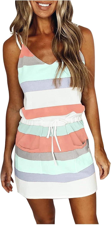 INNOVIERA Summer Dresses for Women Beach,Women V Neck Sleeveless Stripe Casual Dress Swing Strap Dress with Drawstring