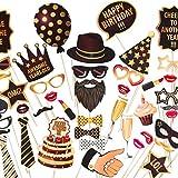 ZEZAZU Joyeux Anniversaire Fête Photo Booth Accessoires Funny DIY 44 Pièce - Édition De Luxe Kit Avec De Vraies Paillettes