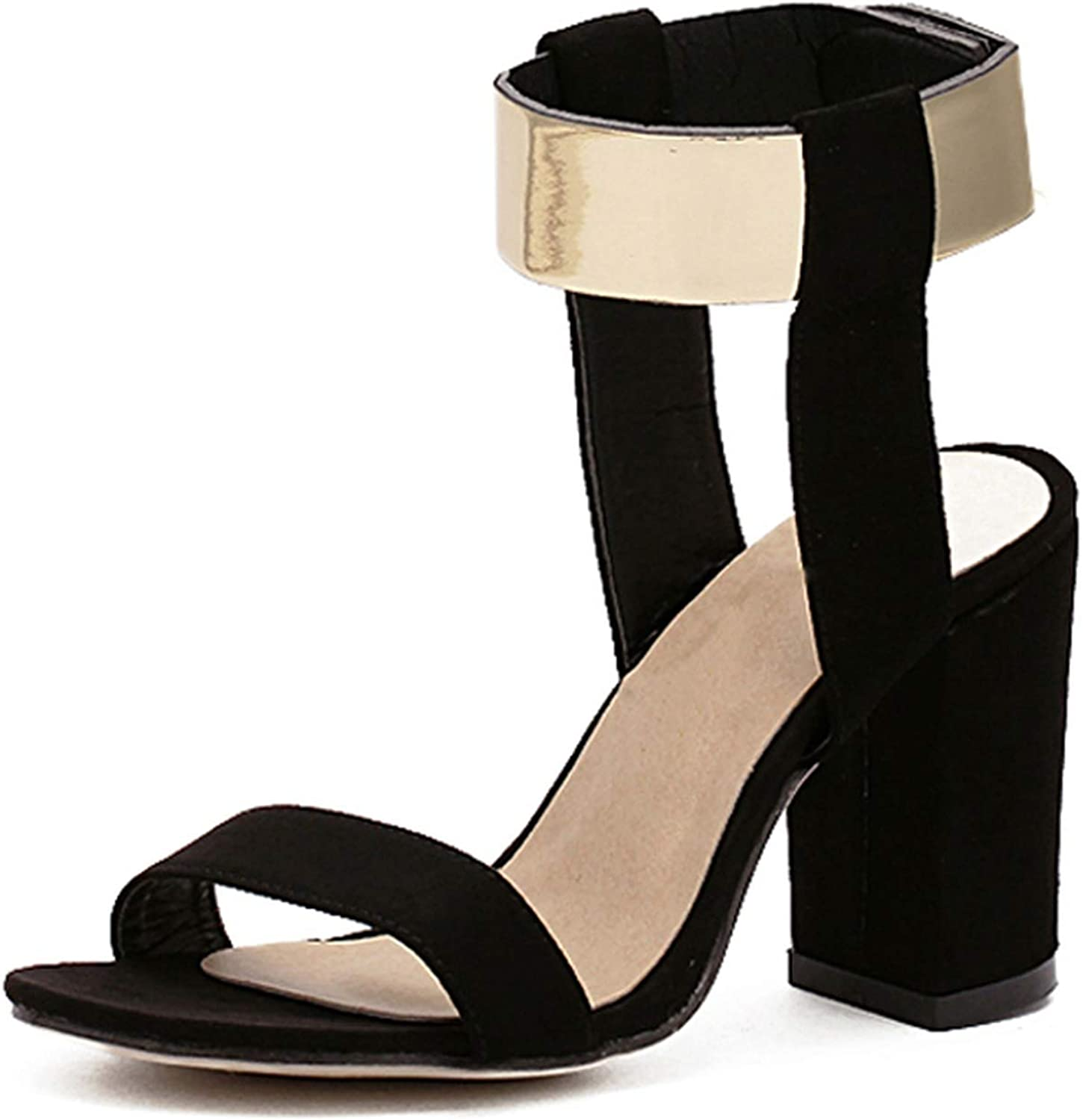 Ches Women Summer Sandals Open Toe Ankle Strap Chunky Block High Heels Work Office Lady Career shoes Pumps Size 35-40
