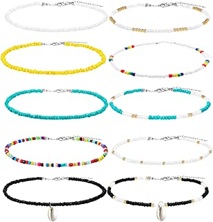 10PCS Seed Bead Choker Necklace, beaded choker Trendy Colorful Boho Chokers Necklace Chain Bohemian Rainbow Tiny Seed Rice Beaded Necklaces Jewelry for Women Girls