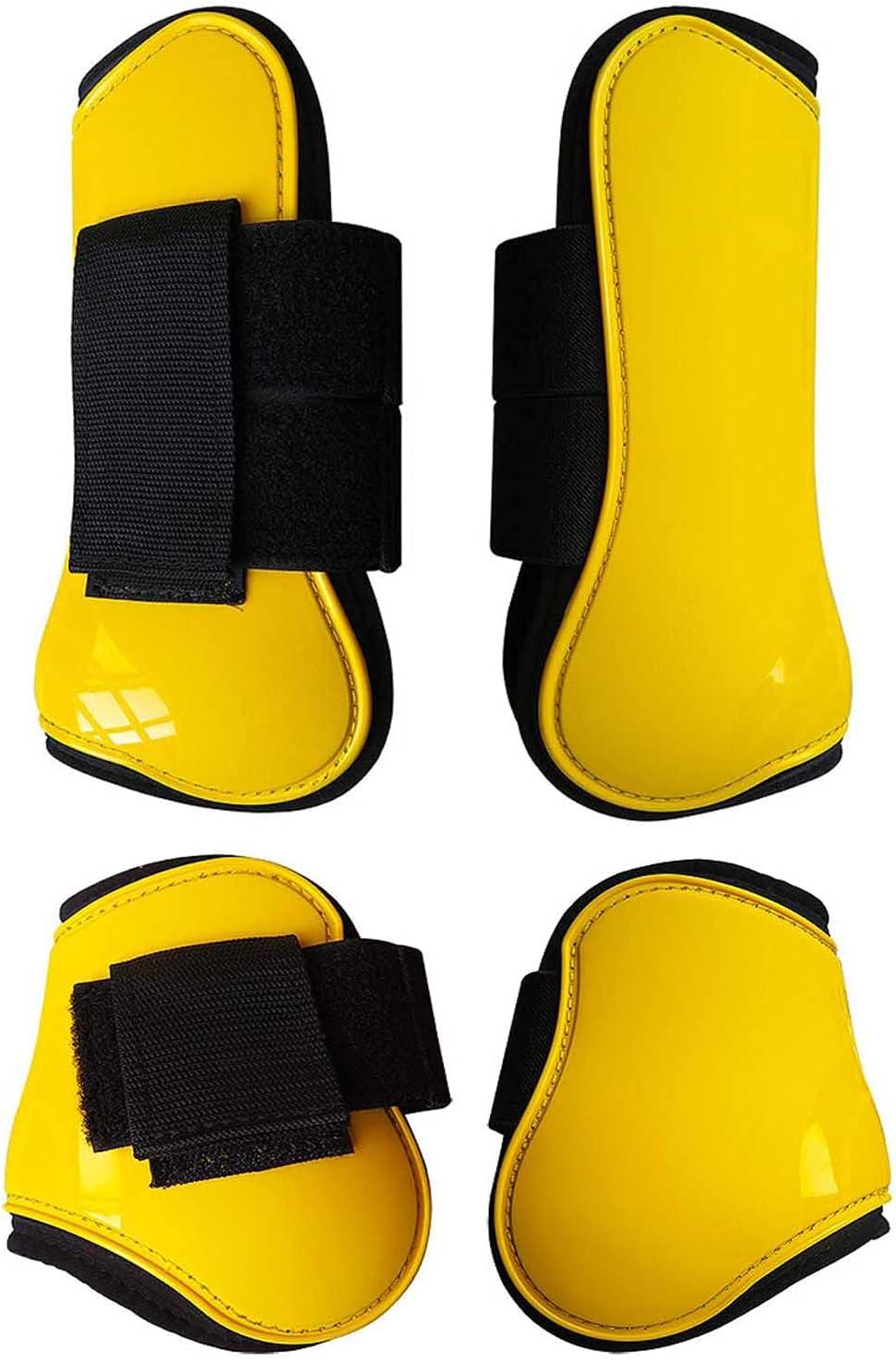 XDXDO Botas de Soporte de Caballos Conjunto de 4 Botas de Caballo de tendón de Neopreno con Cierres de Bucle de Retorno rápido Botas de Cuidado de Caballos Ajustables,L