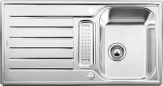 BLANCO LANTOS 5 S - Edelstahlspüle für 50 cm breite Unterschränke für die Küche - Mit Ablauffernbedienung - Leinen Optik - 514801