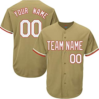 Gold Custom Baseball Jersey for Men Women Youth Game Embroidered Team Player Name & Numbers S-5XL White red