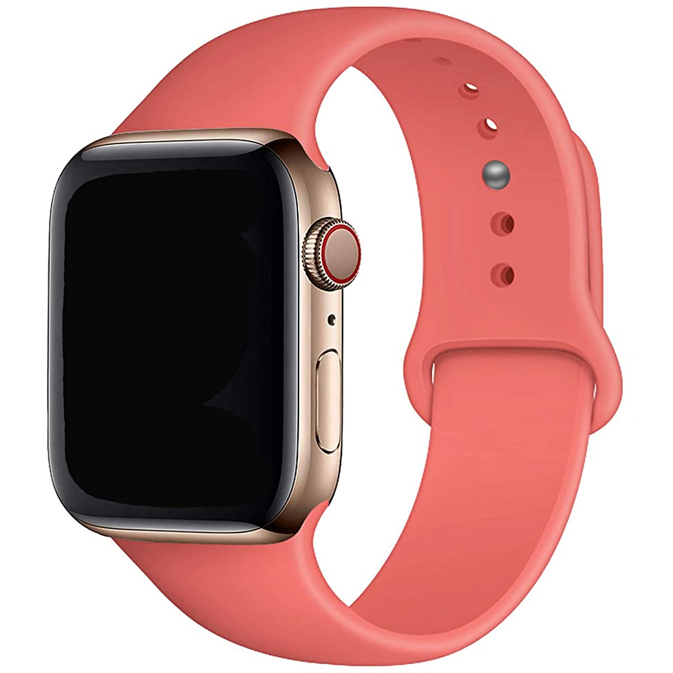 MadeforOnline : Band Compatible with Apple Watch 44mm 42mm 40mm 38mm Soft Silicone Waterproof Replacement Band iWatch Bands Wristband for Series 4,3,2,1, Nike+, S/M M/L