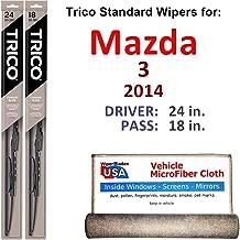 Wiper Blades for 2014 Mazda 3 Driver & Passenger Trico Steel Wipers Set of 2 Bundled with Bonus MicroFiber Interior Car Cloth
