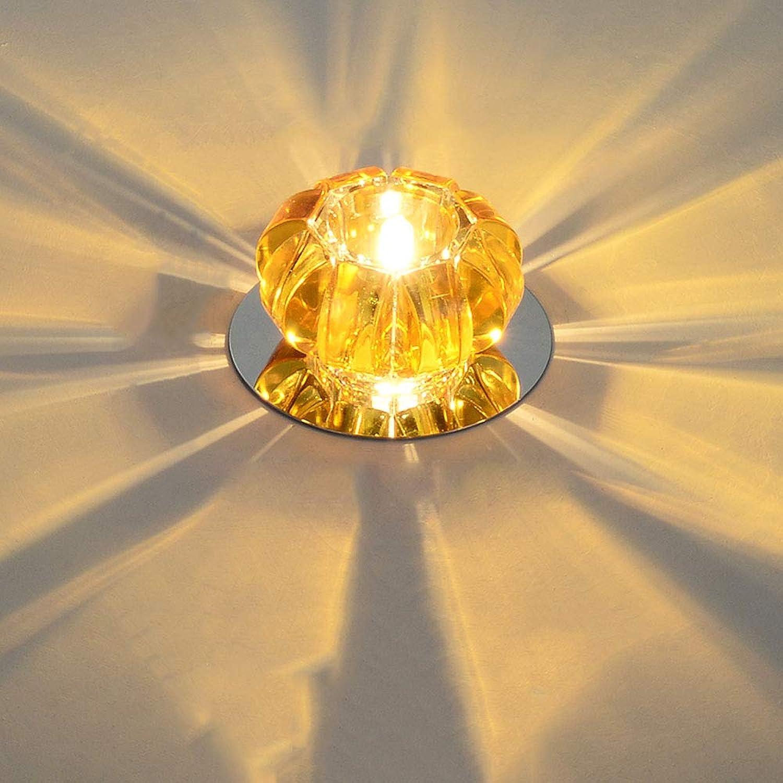 Modenny 5W Luxus LED Decke Kristall Lampe Licht Einbau Flur Deckenstrahler Wohnzimmer Kristall Runde Platte Montiert Downlight Kreative Kürbis Eingebetteten Lampe Dekoration Balkon Halle