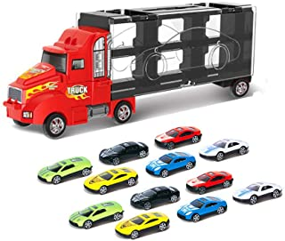 Toy Truck Transport Car Carrier Toy for Boys and Girls age 3-10 yrs old - Hauler Truck Includes 12 Toy Cars and Accessorie...