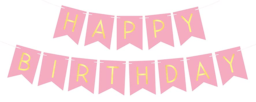 Pink Happy Birthday Bunting Banner with Shimmering Gold Letters - Birthday Decorations - 21st - 30th - 40th - 50th Birthday Party Supplies