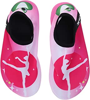 Flyme Quick Dry Children Beach Water Shoes Summer Soft Breathable Anti-Slip Swimming Surfing Diving Socks Kids Sneakers(Ballet Girl 36/37) Brown