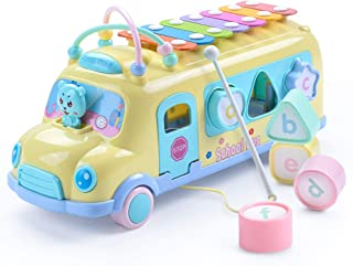 Juboury School Bus Toy, Learning Educational Toys for Baby & Toddler, Push & Pull Toy with Xylophone, Blocks for Boys and Girls (Yellow)