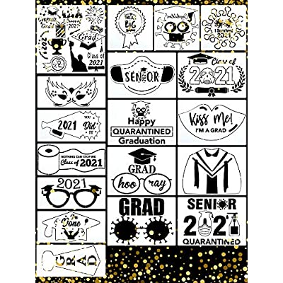 18 Pieces Graduation Stencils for Painting on W...