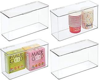 mDesign boîte de rangement avec couvercle – boîte empilable en plastique sans BPA pour placard de cuisine et réfrigérateur...