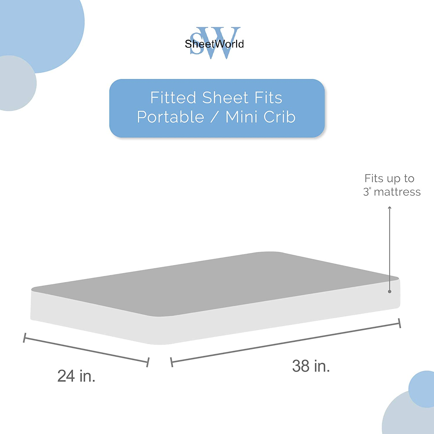 SheetWorld Fitted 100/% Cotton Jersey Portable Mini Crib Sheet 24 x 38 Made in USA Little Mermaid Damask