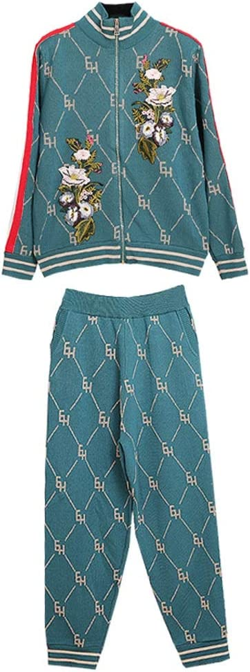 SGZYJ Two Piece Set Women's Heavy Knitted Cardigan Jacket+Knit Pants Suit Women 2pcs Suit (Color : B, Size : Small)