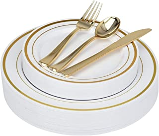 Fancy Disposable Plates with Gold Plastic Silverware - 125 Piece Gold Rim Plastic Party Plates and Cutlery for Wedding, Holiday, Party - Service for 25 Guests Disposable Plates (Gold Rim)