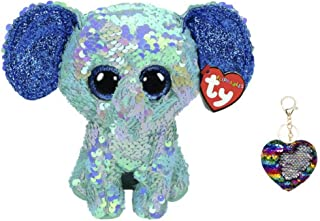 Bundle of TY Flippables Reverse Sequin Stuffed Animal Beanie Boo Plush Toy Stuart Elephant with One Keychain- Small (6 inch)