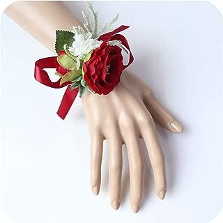 ZSweet Burgundy Boutonniere Groom Corsage Bridal Wrist Corsage Bracelet Red Artificial Silk Rose Flower Wedding Meeting Supplies,Wrist Flower-E