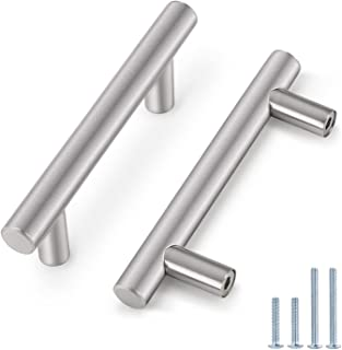 (30 Pack) Probrico 3 Inch Hole Centers Euro T Bar Cabinet Pulls Stainless Steel Kitchen Drawer Handles Satin Nickel Furnit...