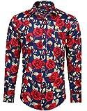 HISDERN Camisa Casual con Estampado Funky para Hombres Elegante Estampado Floral Unico Algodon Regular Fit Camisas Rosas de Manga Larga para Hombres Azul Marino Rojo