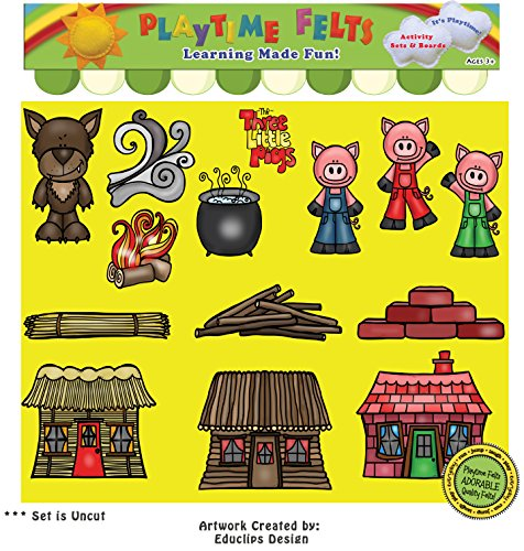 Playtime Felts Three Little Pigs Story Set for Flannel Board - Uncut