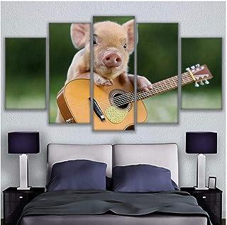 Caballetes Decoración del hogar Sala de Estar Cartel Moderno 5 Piezas Animal Cerdo Instrumento Musical Guitarra HD Impreso Arte de la Pared Lienzo Imagen