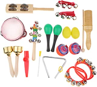 HOMYL 18 Pcs/ Set Musical Percussion Instruments - Educational Toy for Kids Toddler with Tambourine, Maracas, Castanets, Claves & More