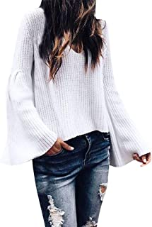 78c01142e928b6 PERFURM Sweater Women Best Sell Loose Long Sleeve Crew-Neck Knitted Tops  Casual Top Blouse