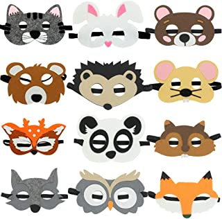 Vankcp 16Pcs Children DIY Animal Mask Graffiti Blank Painting Paper Face Mask with Holes Elastic Cords for Party Supplies Kids Hand Painting Art Crafts White