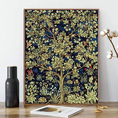 """Paint by Numbers, Canvas Interesting DIY Oil Painting Kit for Kids & Adults, 16"""" x 20"""" Drawing Paintwork with Paintbrushes, Acrylic Pigment-Tree of Life (Without Frame)"""