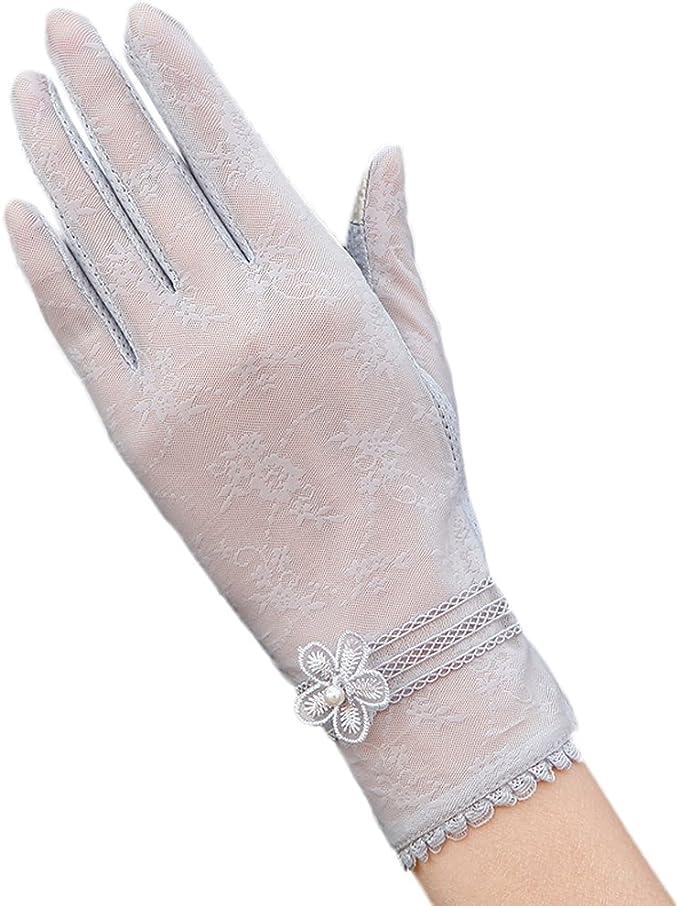 URSFUR Damen Sommer Weiche Spitze Sonnenschutz Handschuhe Netzhandschuhe spitzenhandschuhe Fahrradhandschuhe Brauthandschuhe