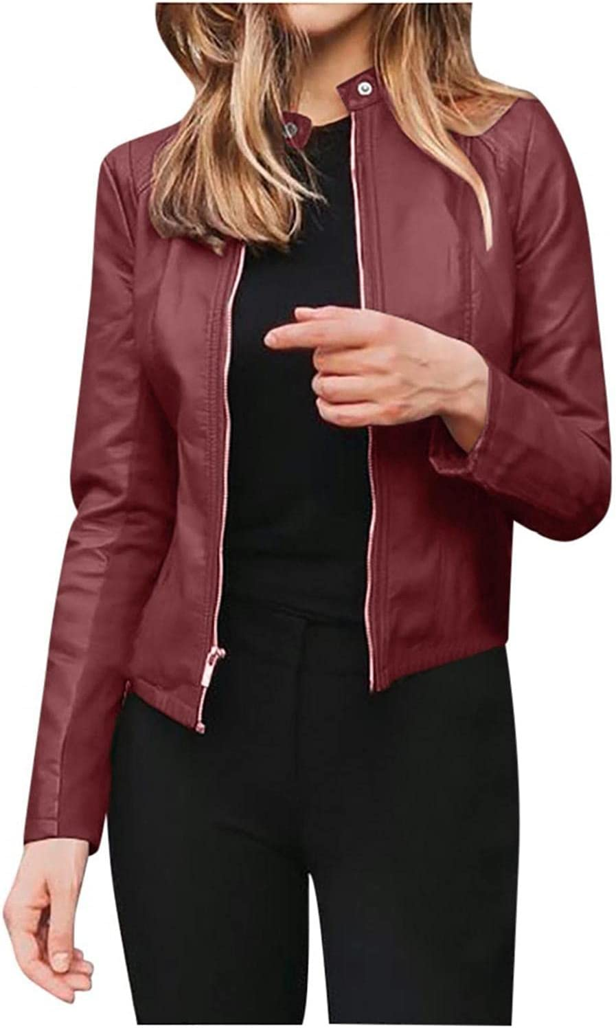 Smileyth Women Faux Leather Jackets - Solid Color Zipper Long Sleeve Open Front Short Cardigan Coat Outerwear
