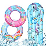 Invech Inflatable Pool Float for Kids, 3 Pack Unicorn Swim Rings with Lounger Raft, Summer Fruits Pool Tubes for Boys/Girls Swimming Water Floats Party Toys