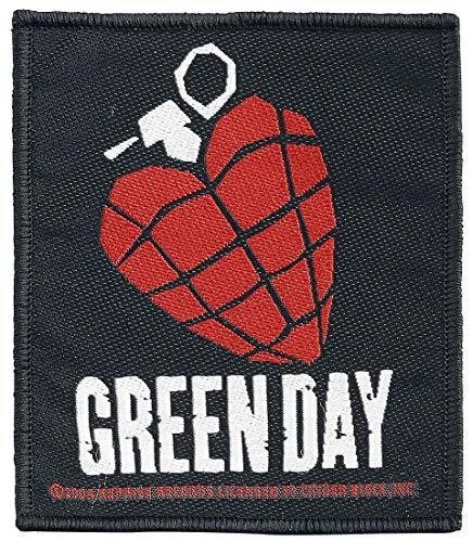 Green Day Heart Grenade Unisex Patch Mehrfarbig 100% Polyester Band-Merch, Bands