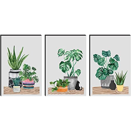 SAF Set of 3 Preety Flower Pot Large Embossed MDF Framed Panel Painting 36 Inch X 18 Inch PHSX30070