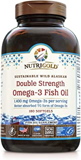 Omega-3 Fish Oil Capsules - Double Strength Omega-3 Fish Oil, 1400 mg, 180 Softgels - The GOLD Standard, IFOS 5-Star Certi...
