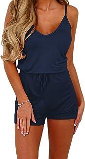 32f1e1d413c Dreamskull Women Summer Casual Spaghetti Strap Adjustable Waist Drawstring  Short Jumpsuit Solid Cami Romper for Girl