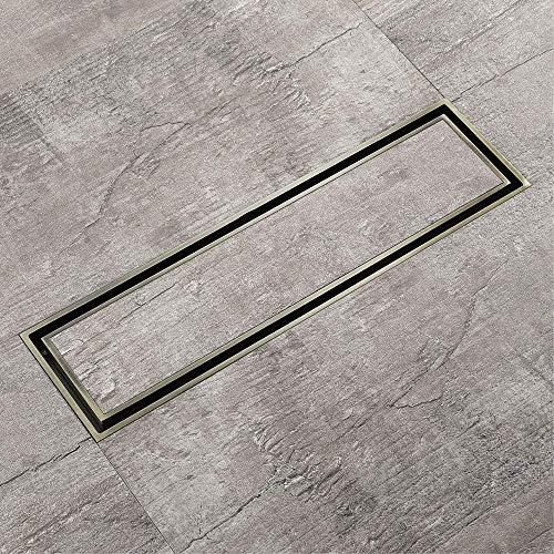 DYR Legen Sie Fliesen Rechteck Bodenablauf Antik Messing 31x8cm Badezimmer Toilette Wasser Anti Geruchshaarsieb Unsichtbare Abflüsse